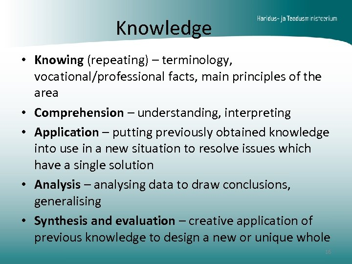 Knowledge • Knowing (repeating) – terminology, vocational/professional facts, main principles of the area •