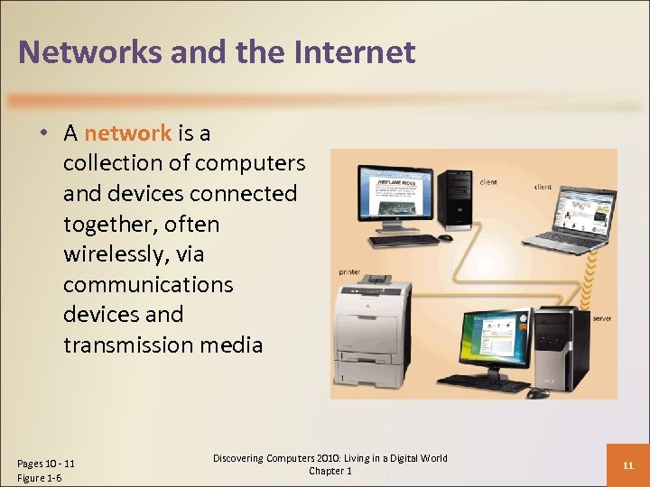 Networks and the Internet • A network is a collection of computers and devices