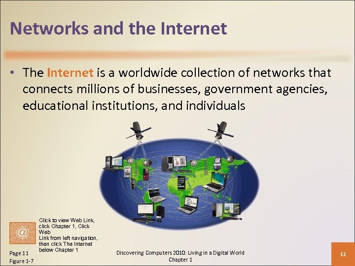 Networks and the Internet • The Internet is a worldwide collection of networks that