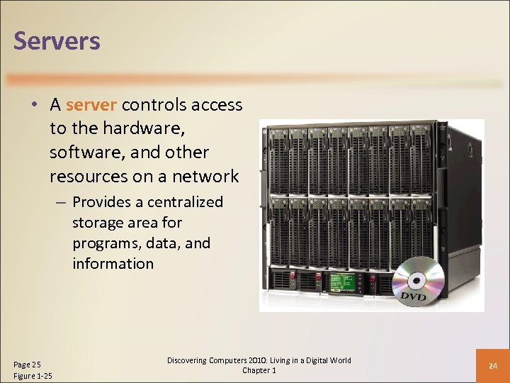 Servers • A server controls access to the hardware, software, and other resources on