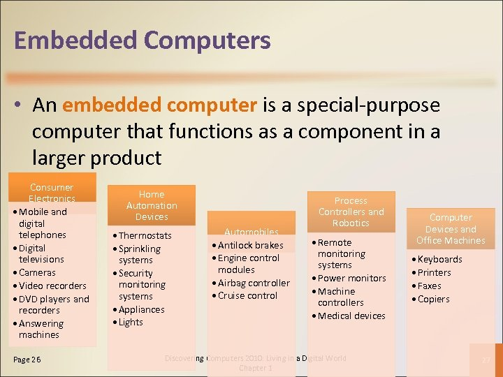 Embedded Computers • An embedded computer is a special-purpose computer that functions as a