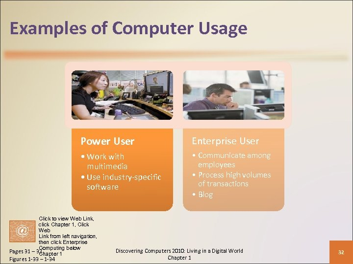 Examples of Computer Usage Power User Enterprise User • Work with multimedia • Use