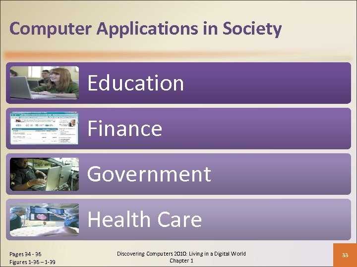 Computer Applications in Society Education Finance Government Health Care Pages 34 - 36 Figures