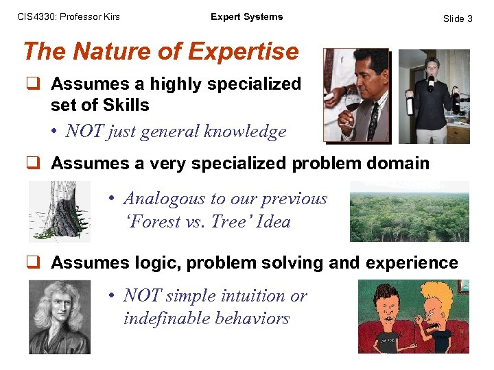 CIS 4330: Professor Kirs Expert Systems Slide 3 The Nature of Expertise q Assumes