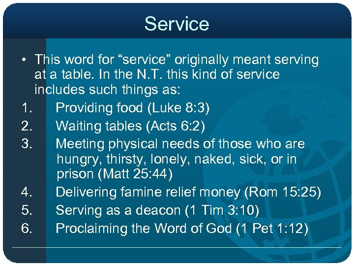 """Service • This word for """"service"""" originally meant serving at a table. In the"""
