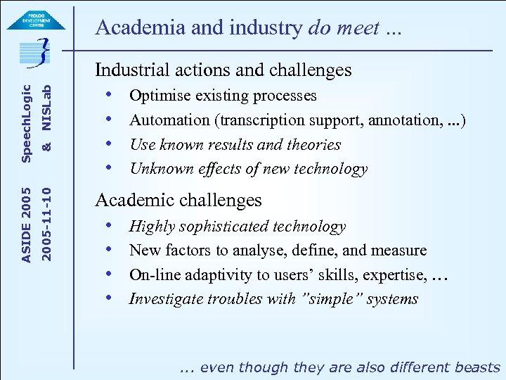 NISLab & 2005 -11 -10 ASIDE 2005 Speech. Logic Academia and industry do meet.