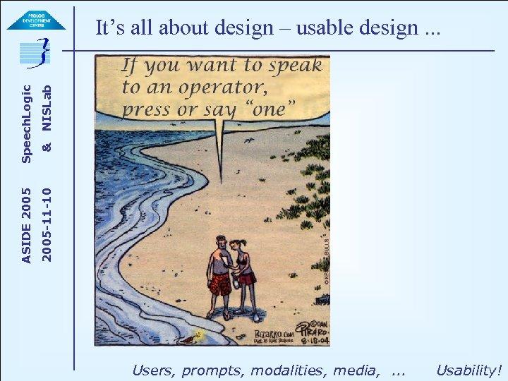 NISLab & 2005 -11 -10 ASIDE 2005 Speech. Logic It's all about design –