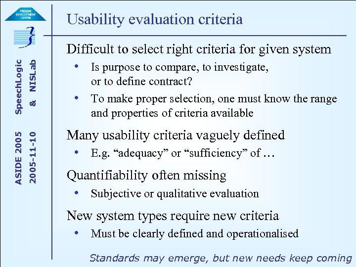 NISLab & 2005 -11 -10 ASIDE 2005 Speech. Logic Usability evaluation criteria Difficult to