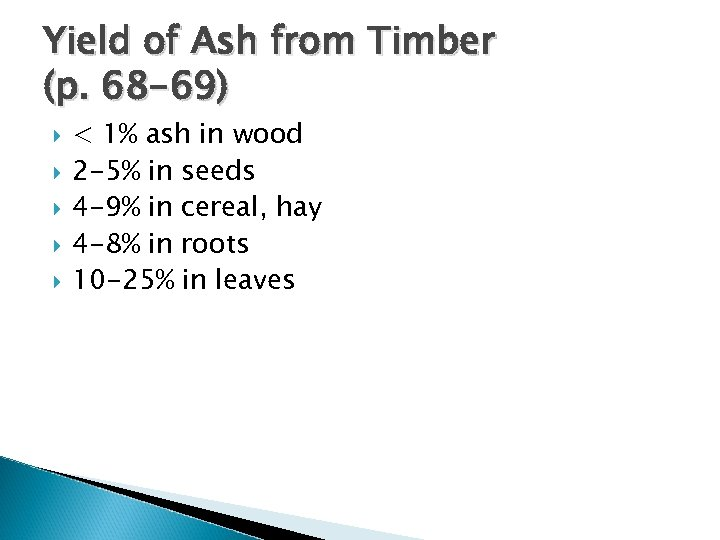 Yield of Ash from Timber (p. 68 -69) < 1% ash in wood 2