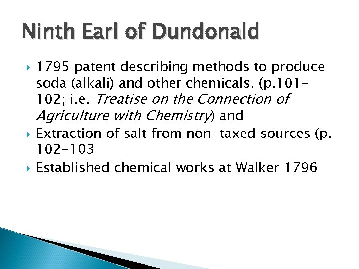 Ninth Earl of Dundonald 1795 patent describing methods to produce soda (alkali) and other