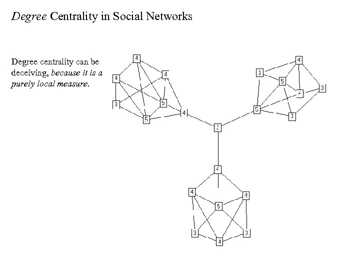 Degree Centrality in Social Networks Degree centrality can be deceiving, because it is a