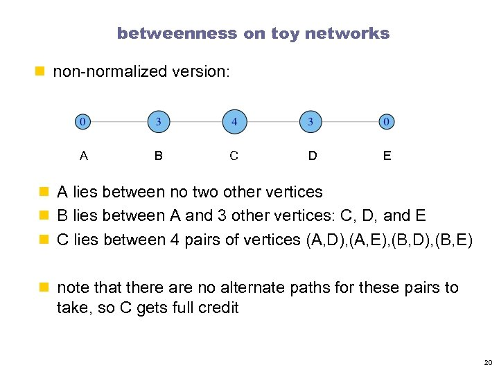 betweenness on toy networks n non-normalized version: A B C D E n A