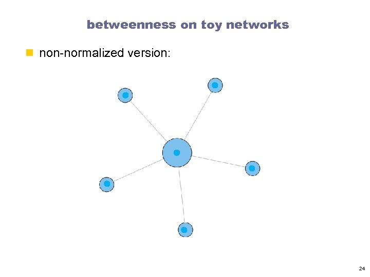 betweenness on toy networks n non-normalized version: 24