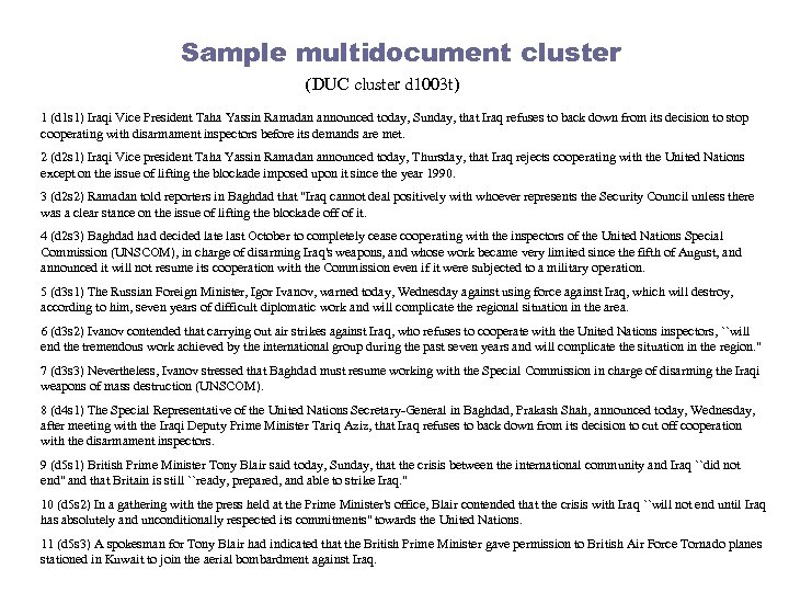 Sample multidocument cluster (DUC cluster d 1003 t) 1 (d 1 s 1) Iraqi