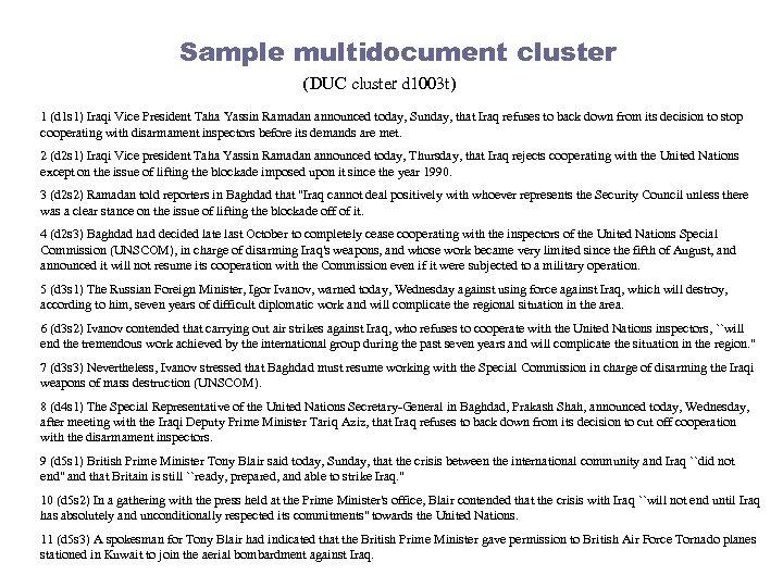 Sample multidocument cluster (DUC cluster d 1003 t) 1 (d 1 s 1) Iraqi