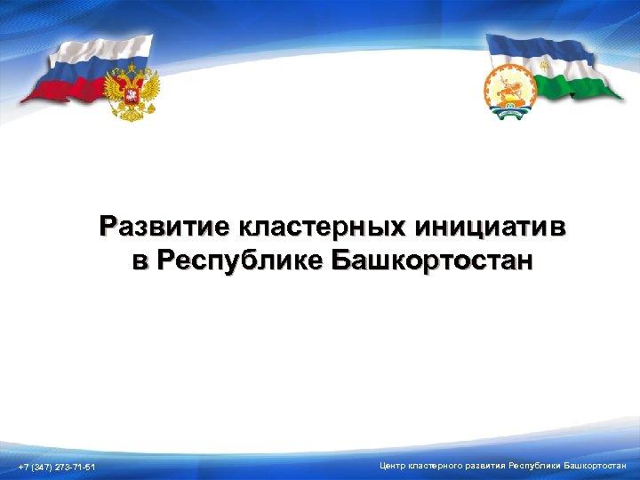 Развитие кластерных инициатив в Республике Башкортостан +7 (347) 273 -71 -51 Центр кластерного развития