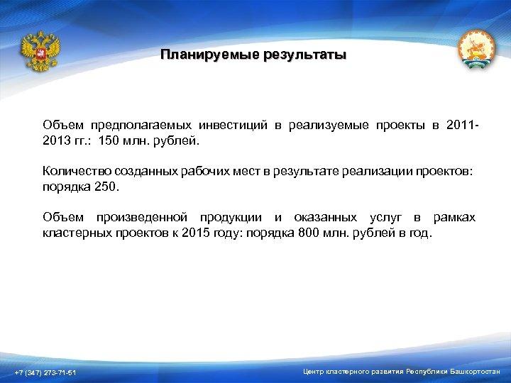 Планируемые результаты Объем предполагаемых инвестиций в реализуемые проекты в 20112013 гг. : 150 млн.