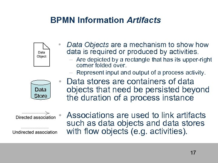 BPMN Information Artifacts • Data Objects are a mechanism to show data is required
