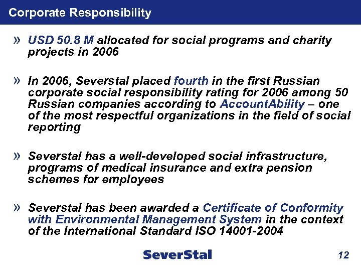 Corporate Responsibility » USD 50. 8 M allocated for social programs and charity projects