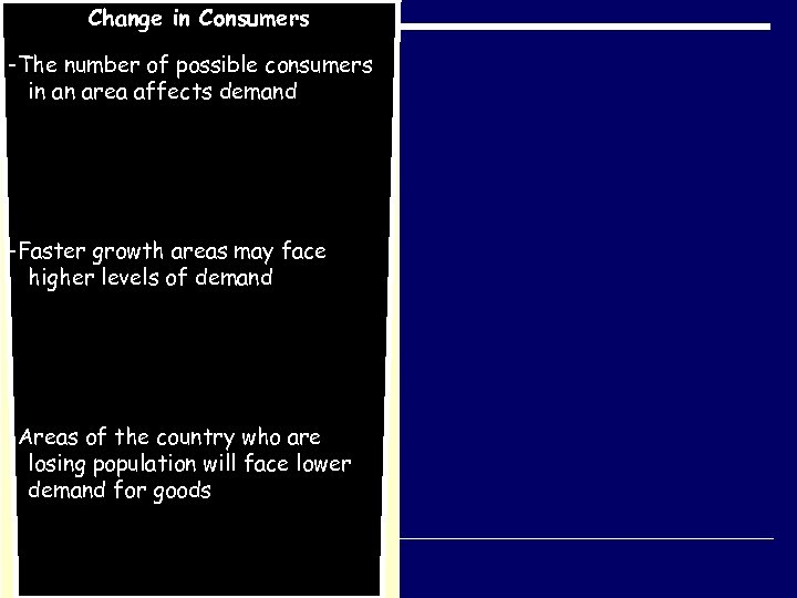 Change in Consumers -The number of possible consumers in an area affects demand -Faster