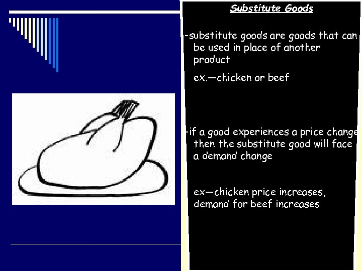 Substitute Goods -substitute goods are goods that can be used in place of another