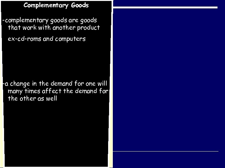 Complementary Goods -complementary goods are goods that work with another product ex-cd-roms and computers