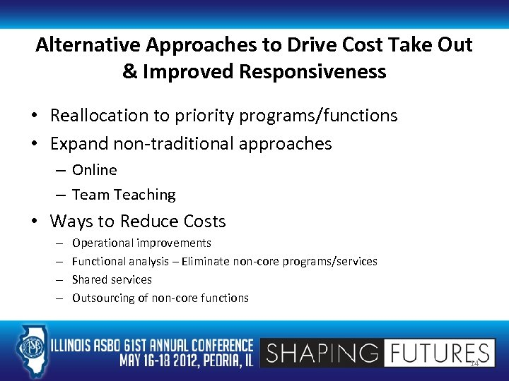 Alternative Approaches to Drive Cost Take Out & Improved Responsiveness • Reallocation to priority