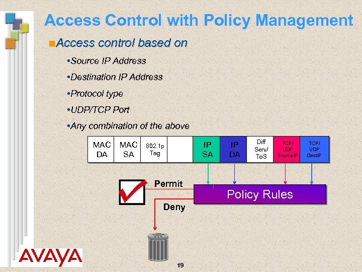 Access Control with Policy Management n. Access control based on • Source IP Address