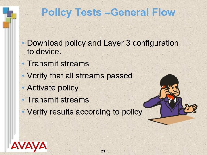 Policy Tests –General Flow • Download policy and Layer 3 configuration to device. •