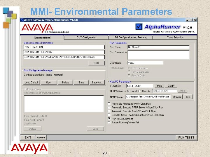 MMI- Environmental Parameters 23