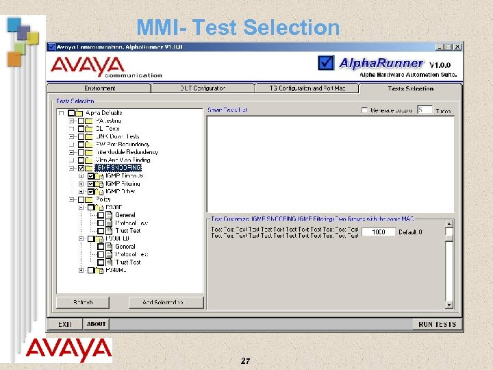 MMI- Test Selection 27