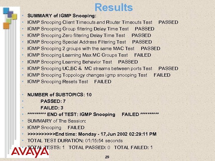 Results • • • SUMMARY of IGMP Snooping: IGMP Snooping Client Timeouts and Router