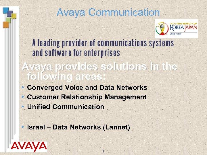 Avaya Communication Avaya provides solutions in the following areas: • Converged Voice and Data