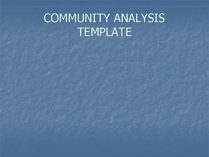 COMMUNITY ANALYSIS TEMPLATE