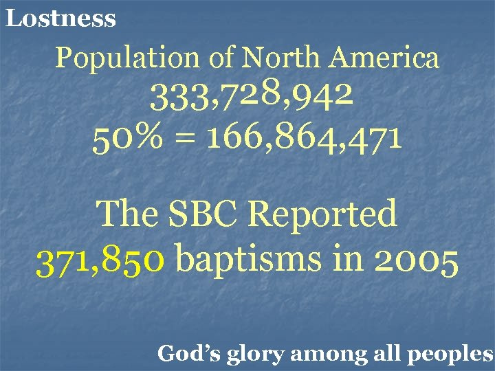 Lostness Population of North America 333, 728, 942 50% = 166, 864, 471 The