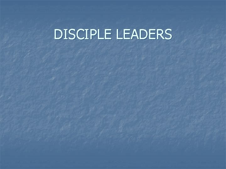 DISCIPLE LEADERS