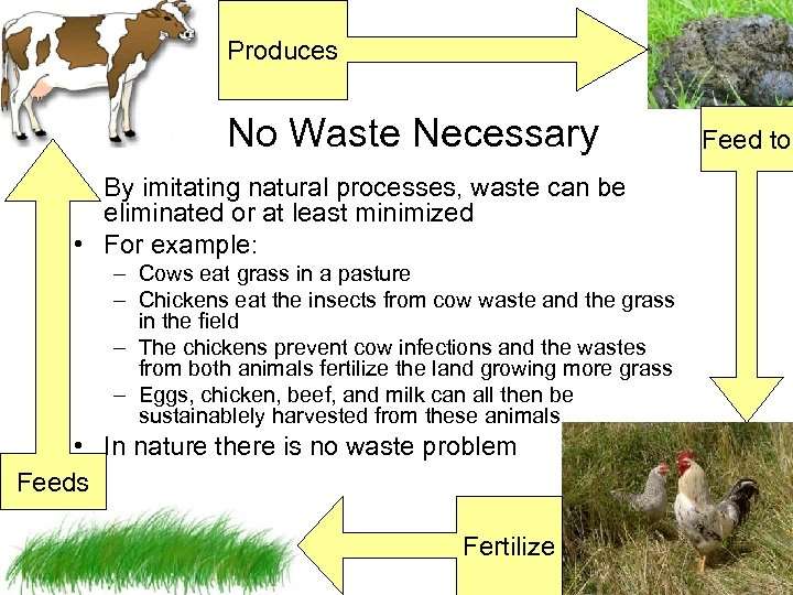Produces No Waste Necessary • By imitating natural processes, waste can be eliminated or