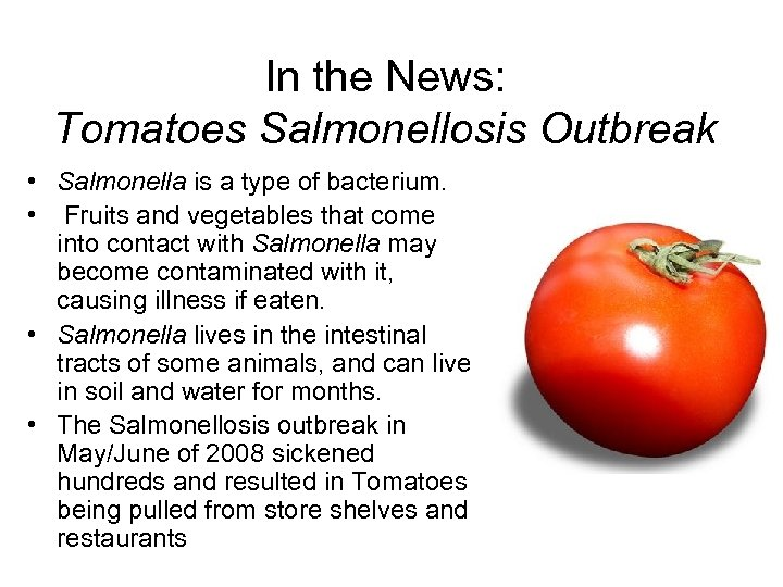 In the News: Tomatoes Salmonellosis Outbreak • Salmonella is a type of bacterium. •