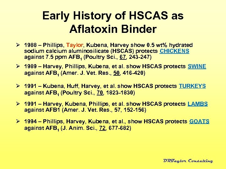 Early History of HSCAS as Aflatoxin Binder Ø 1988 – Phillips, Taylor, Kubena, Harvey