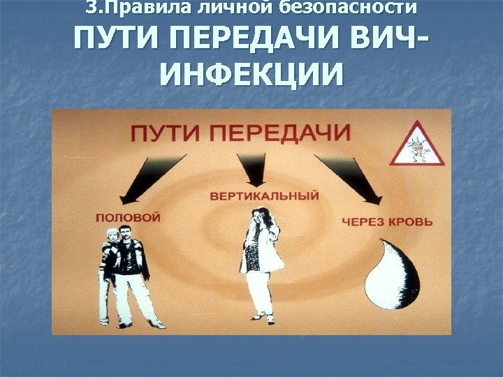 3. Правила личной безопасности ПУТИ ПЕРЕДАЧИ ВИЧИНФЕКЦИИ