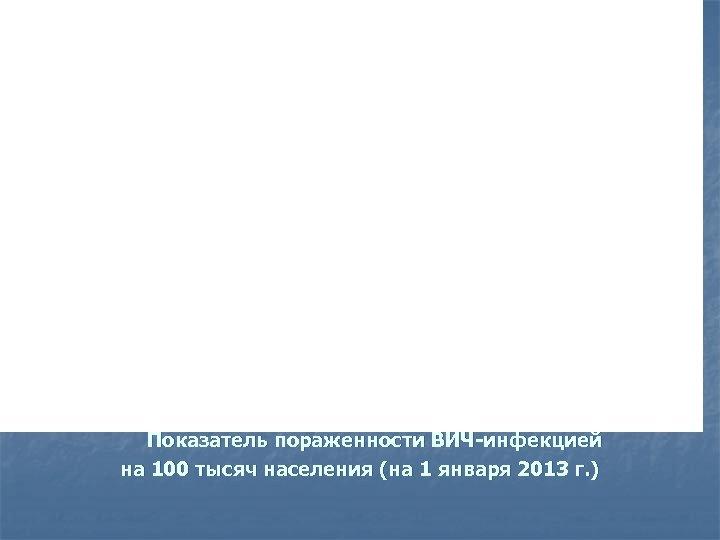 Показатель пораженности ВИЧ-инфекцией на 100 тысяч населения (на 1 января 2013 г. )