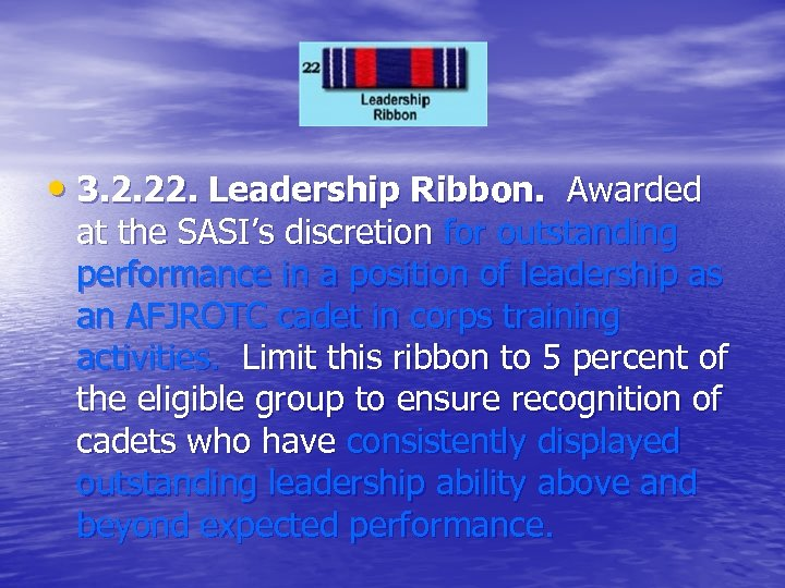 • 3. 2. 22. Leadership Ribbon. Awarded at the SASI's discretion for outstanding