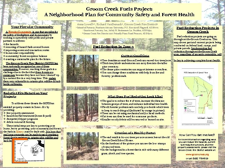 Groom Creek Fuels Project: A Neighborhood Plan for Community Safety and Forest Health Your