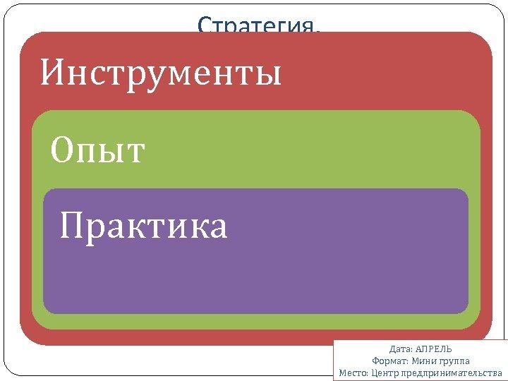 Стратегия. Полное руководство по созданию и применению. Инструменты Опыт Практика Дата: АПРЕЛЬ Формат: Мини