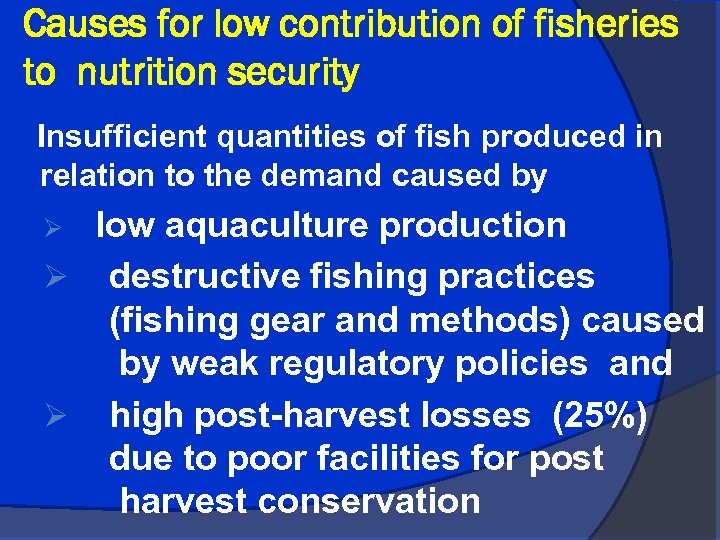 Causes for low contribution of fisheries to nutrition security Insufficient quantities of fish produced