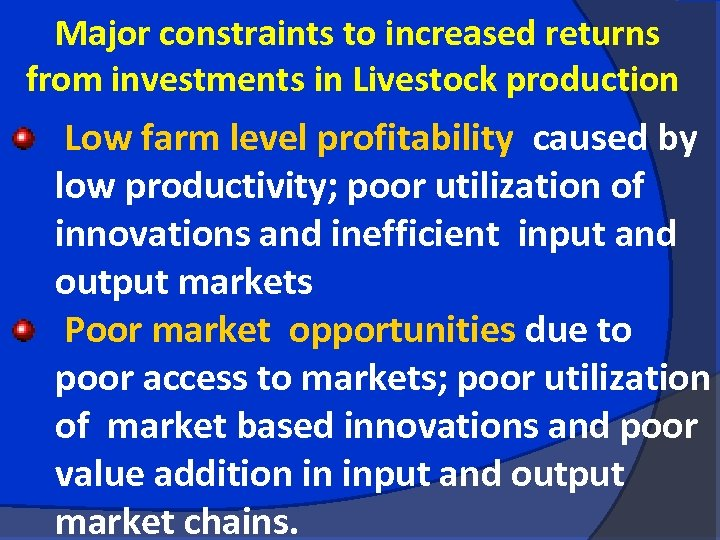 Major constraints to increased returns from investments in Livestock production Low farm level profitability