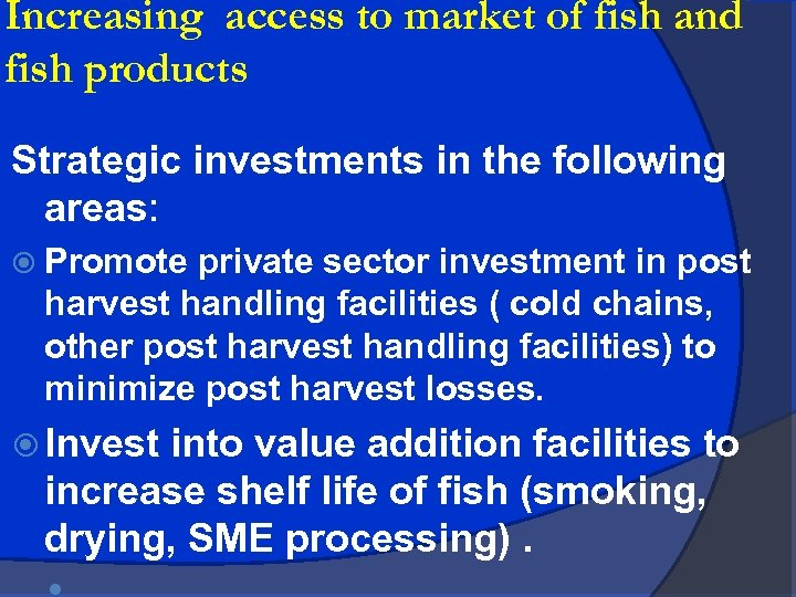Increasing access to market of fish and fish products Strategic investments in the following