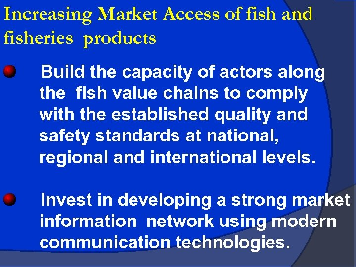Increasing Market Access of fish and fisheries products Build the capacity of actors along