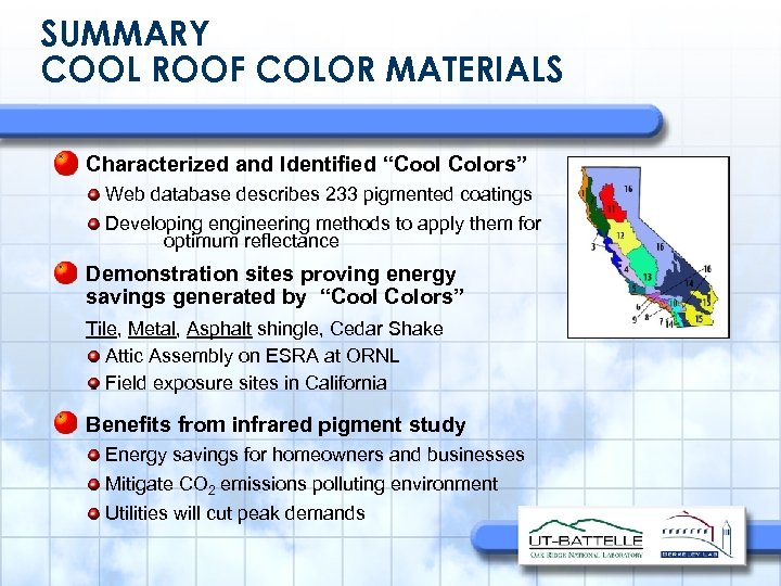 "SUMMARY COOL ROOF COLOR MATERIALS Characterized and Identified ""Cool Colors"" Web database describes 233"