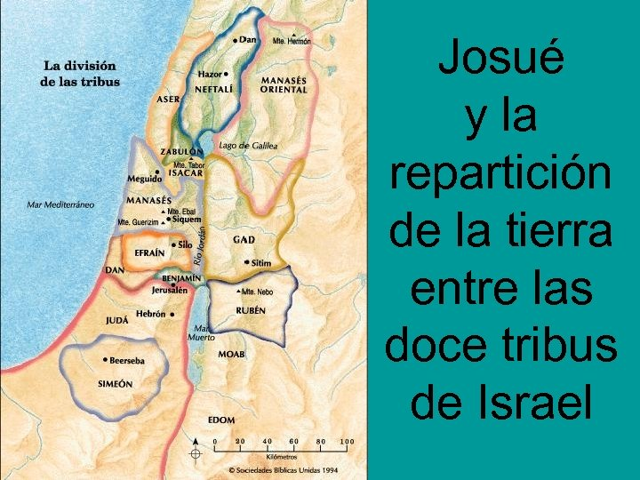 Josué y la repartición de la tierra entre las doce tribus de Israel